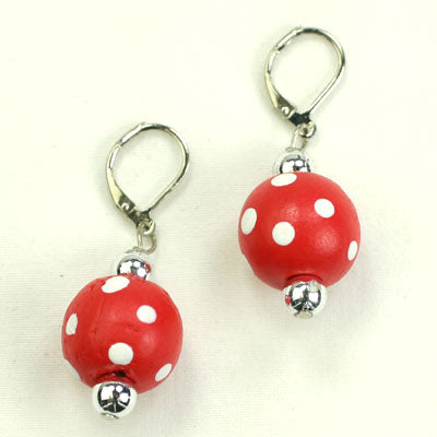 Red & White Polka Dot Wood Bead Earrings