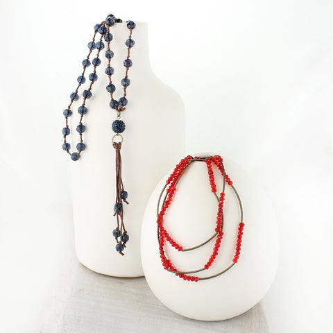 Navy Crystal Knotted Necklace