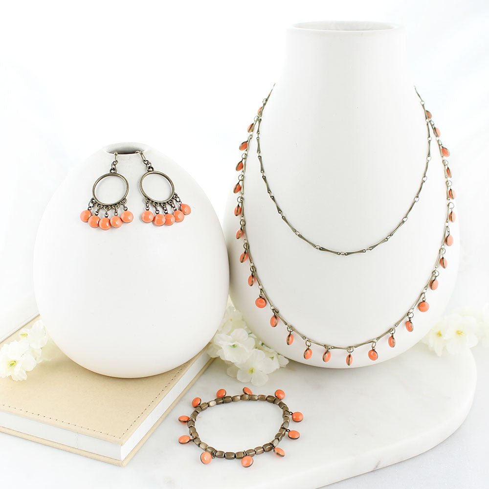 "36"" Vintage Enamel Dot Necklace - Orange"