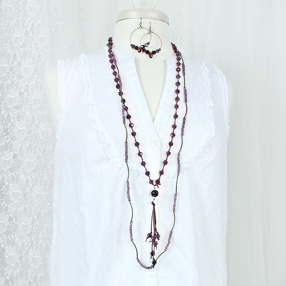 "Vintage Style Purple Crystal Bead 44"" Stretch Necklace"