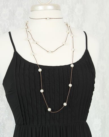 Brown Cord & White Pearl Choker