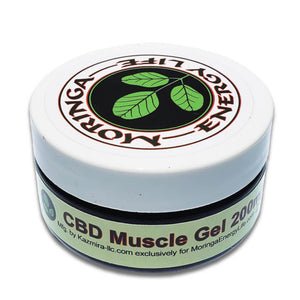 Moringa CBD Muscle Gel - 2 oz with Moringa Seed Oil, Menthol for Herbal Relief | Hemp Extract Gel 200mg CBD Per Tub