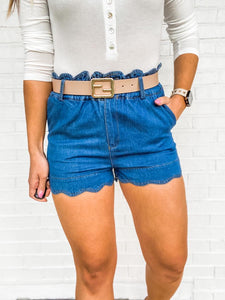 Stay Longer Scalloped Shorts