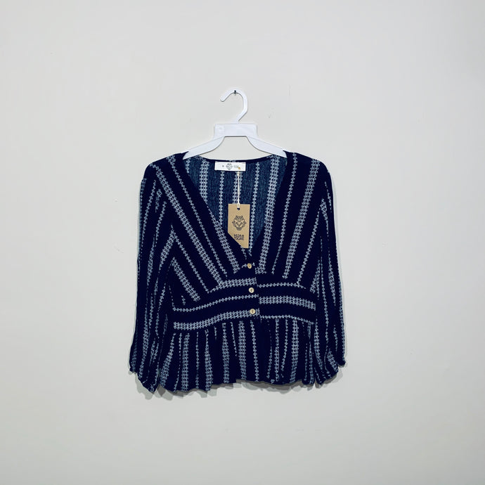 Blusa V Neck Deep Blue