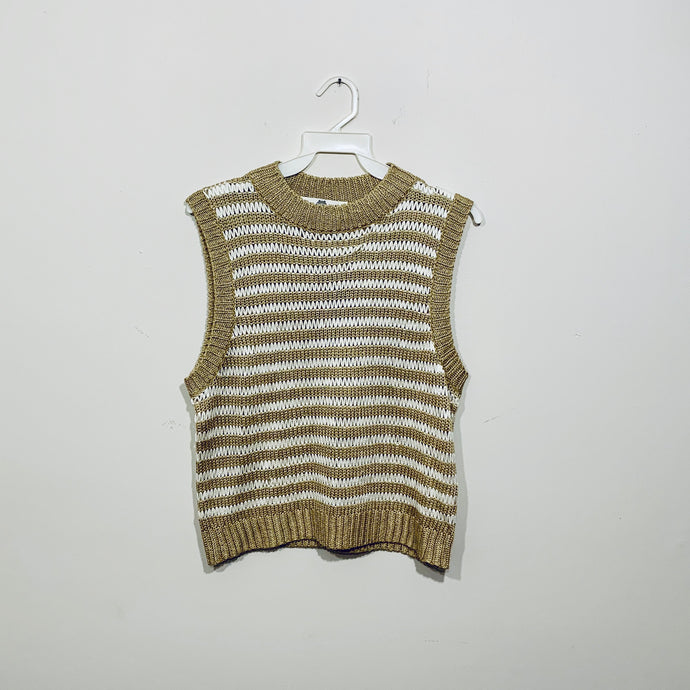 Blusa Crochet Beige & White Stripes