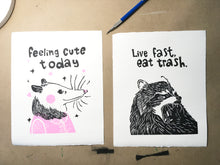 "Load image into Gallery viewer, ""Live Fast, Eat Trash."" linocut print"