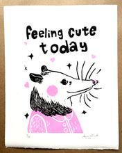 "Load image into Gallery viewer, ""feeling cute today"" linocut print"