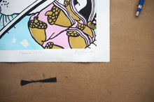 Load image into Gallery viewer, Warrior Spirit original linocut print and pin set