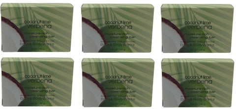 Bath & Body Works Coconut Lime Verbena Bath Soap lot of 6 bars. Total of 9oz