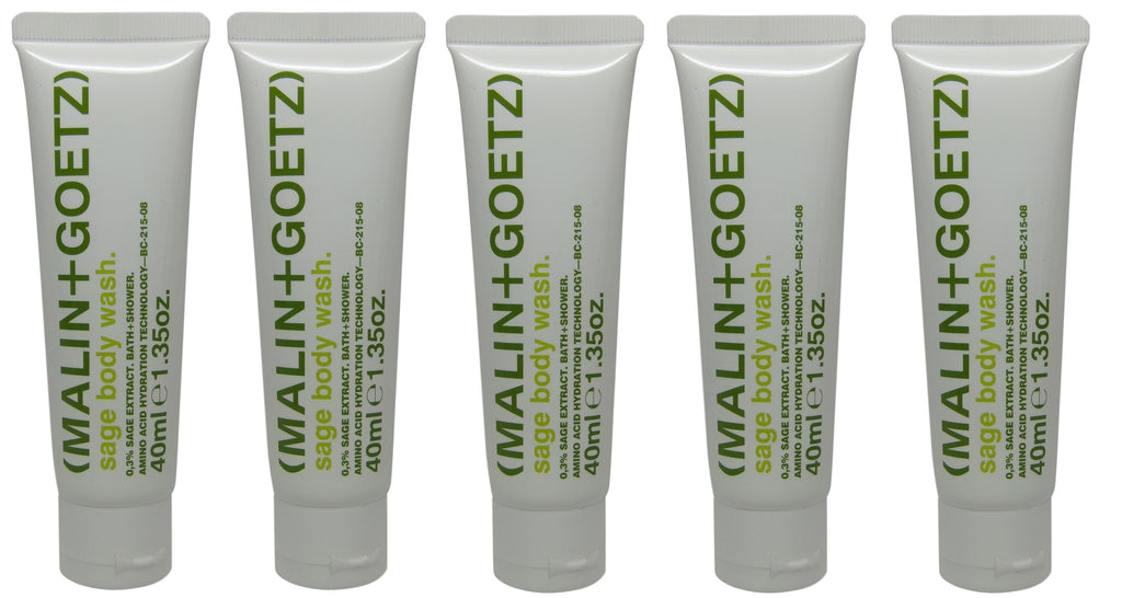 Malin + Goetz Sage body wash lot of 5 tubes each 1.35oz Total of 6.75oz