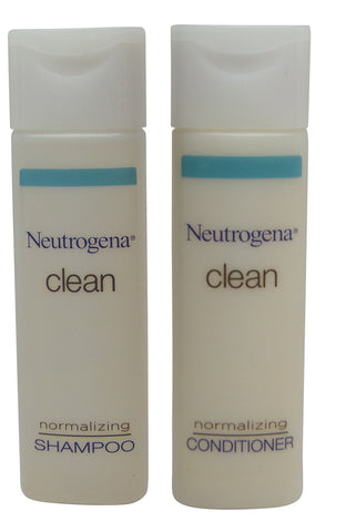 Neutrogena Clean Normalizing Shampoo & Conditioner lot of 10 (5 of ea) 0.8oz Bottles.