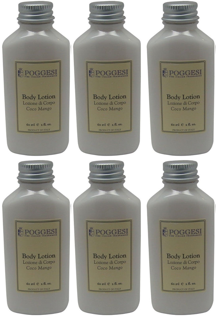 Poggesi Coco Mango Lotion Lot of 6 each 2oz Bottles. Total of 12oz