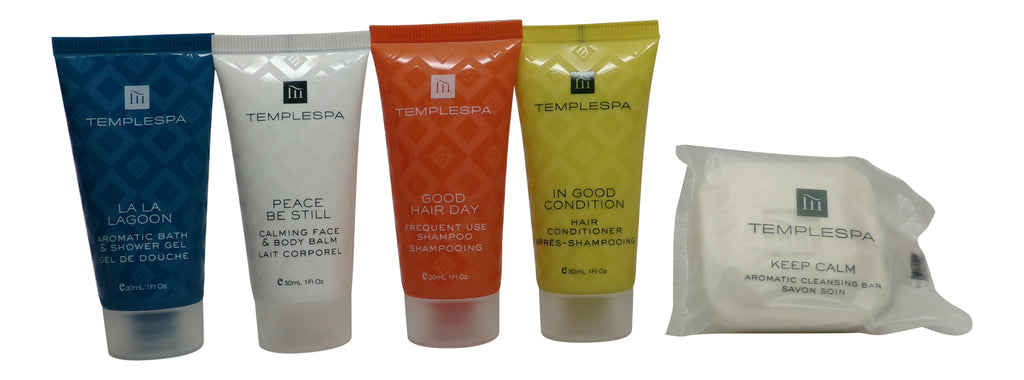 Temple Spa Travel Set Lotion, Shampoo, Conditioner, Shower Gel, Soap