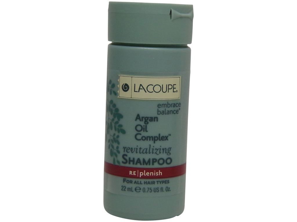 La Coupe Argan Oil Complex Revitalizing Shampoo Lot of 18 each 0.75oz bottles. Total of 13.5oz