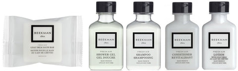 Beekman 1802 Fresh Air Travel Set Shampoo Conditioner Lotion, Shower Gel, Soap