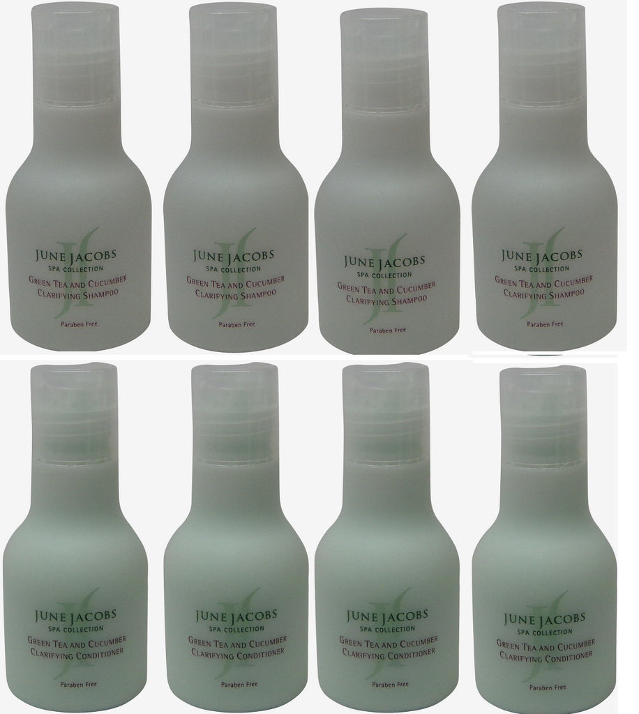 June Jacobs Green Tea Clarifying Shampoo & Conditioner Lot of 8 (4 each) 1.7oz