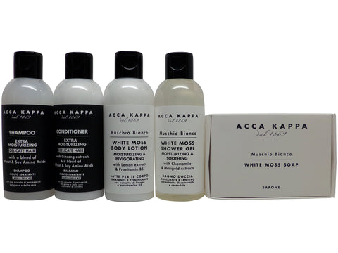 Acca Kappa White Moss Travel Set Shampoo, Conditioner, Lotion, Shower Gel, & Soap