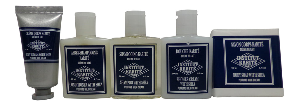 Institut Karite Shea Travel Set Shampoo, Conditioner, Shower Cream, Body Cream, Body Soap