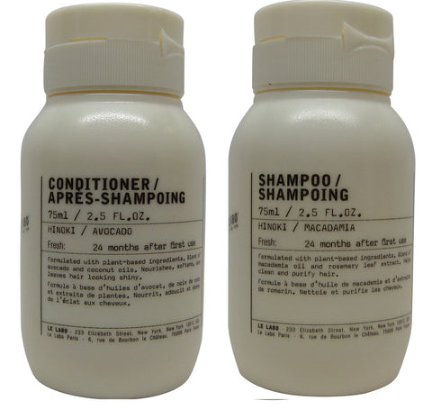 Le Labo Hinoki Shampoo & Conditioner lot of 2 (1 of each) 2.5oz bottles.