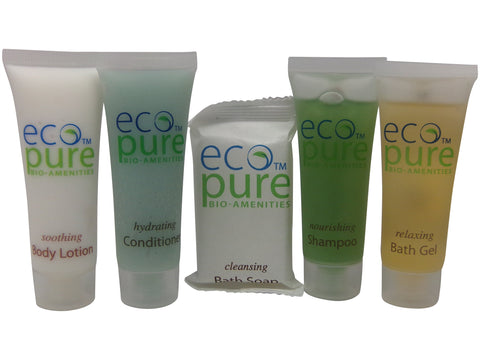 Eco Pure Travel set Shampoo, Conditioner, Lotion, Bath Gel, and Soap