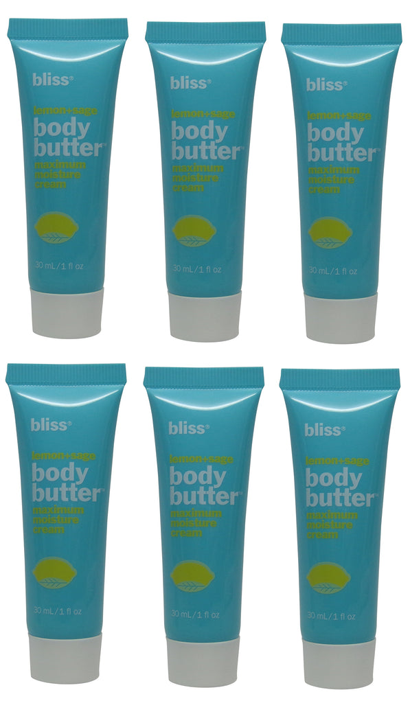 Bliss Lemon & Sage Body Butter (Lotion) Lot of 6 Each 1oz Bottles Total of 6oz