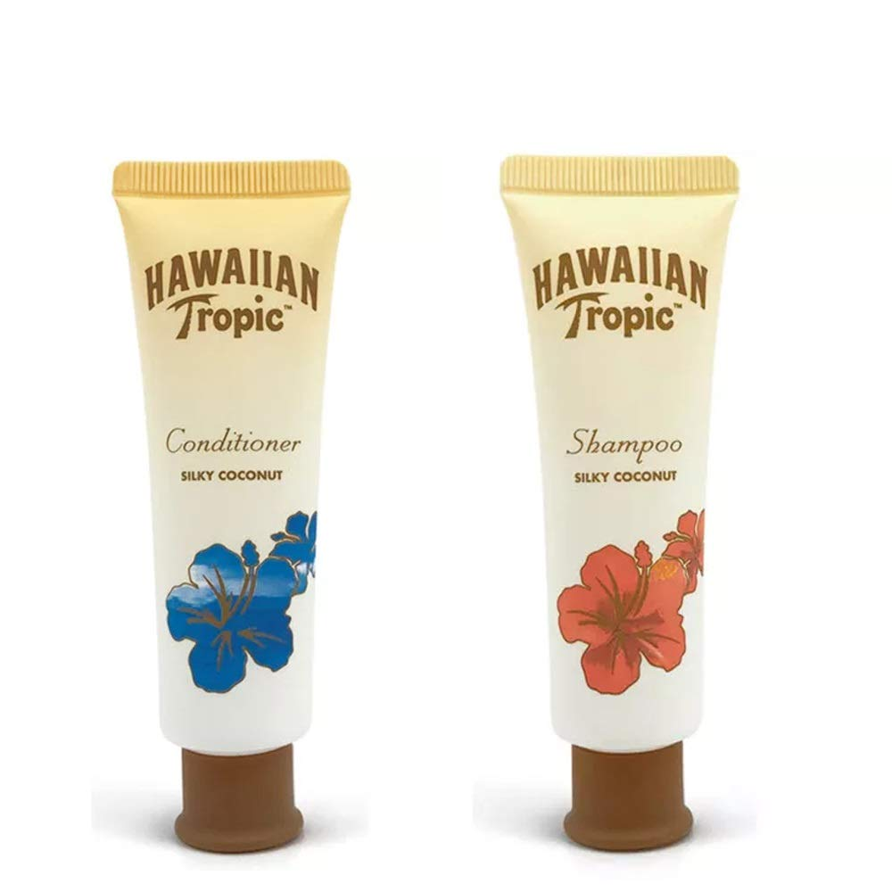Hawaiian Tropic Shampoo and Conditioner Silky Coconut Fragrance – Lot of 16 (8 each) – Each 1 Oz – Total 16 Oz