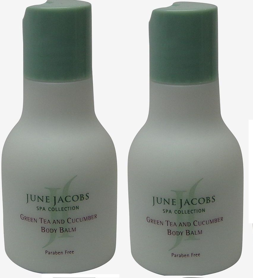 June Jacobs Green Tea Body Balm (Lotion) Lot of 2 each 1.7oz bottle.