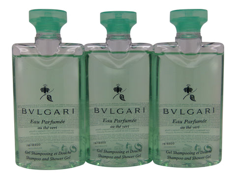 Bvlgari Au The Vert (Green Tea) Shower Gel, 2.5 Fluid Ounces - Set of 3