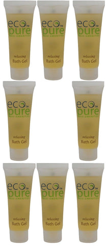 Eco Pure Relaxing Bath Gel Lot of 8 each 1oz Bottles. Total of 8oz