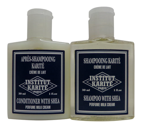 Institut Karite Shea Milk Cream Shampoo & Conditioner lot 16 (8 of each) 1oz bottles.