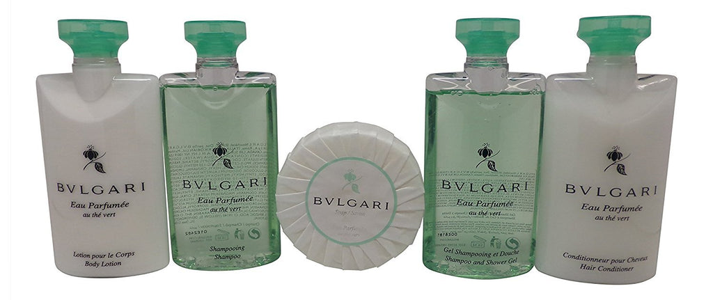 Bvlgari Au the Vert Travel Set Shampoo, Conditioner, Lotion. Shower Gel, & Soap