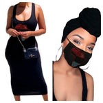 Africa Black Headwrap, Mask and Dress