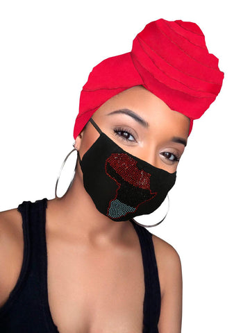 Africa Red Flag Diamond Satin Lined Wrap & mask