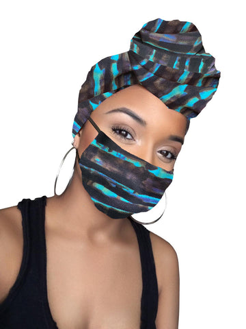 Guava Lava stretched headwrap and mask