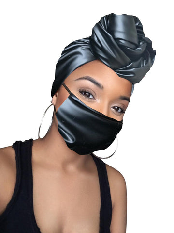 Faux Leather Grey Stretched Headwrap and Mask