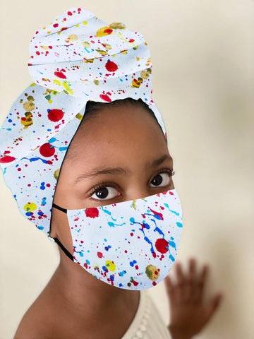Splatter Kid Stretched Satin Lined Headwrap and Mask