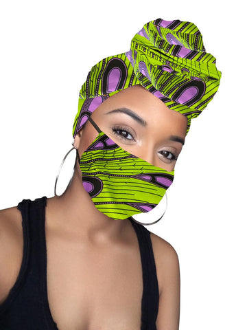 Nailah Cotton Satin Lined Head Wrap and Mask