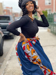 Abiah Jeans Print Maxi Skirt, Slip On Headwrap & Clutch bag set (Pre order)