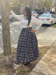 Black and white Print  Maxi Skirt and Headwrap