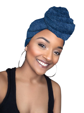 Blue Jeans Satin Lined Head wrap