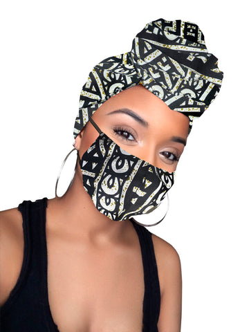 Mervel Satin Lined Wrap and Mask