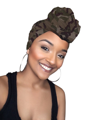 Camo Army Jersey Knit Stretched Fabric Slip On Headwrap