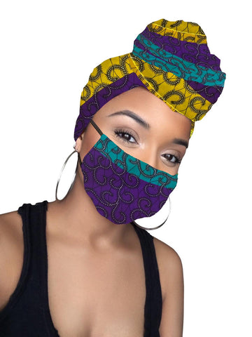 Isabella African Print Head wrap and Mask