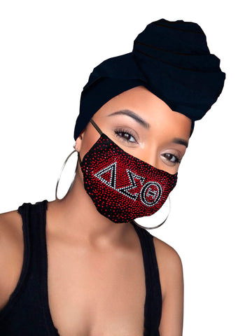 Delta Sigma Black  Diamond Headwrap & mask