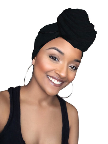 Midnight Black Satin Lined Head Wrap