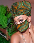 Kayla Slip On satin lined headwrap and Mask
