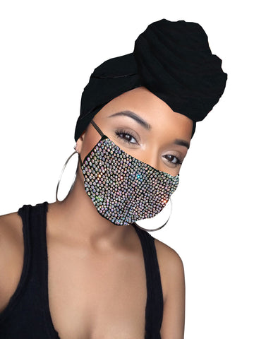 Midnight Black Diamond Satin Lined Wrap and Mask