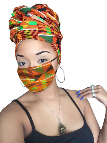 Her Majesty  Headwrap and Face Mask combo