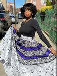 Marble Black and White Print Maxi Skirt, Headwrap & Bag Set