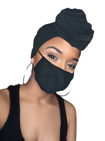 Charcoal Dark Grey Stretched Headwrap & Mask Combo